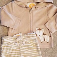 NEW!! GYMBOREE 3-6 MONTH CUTE 2PC TAN ZEBRA JACKET OUTFIT ADORABLE!