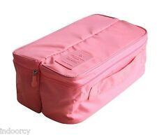 Travel Organizer Bag Stoke Bra Underwear Divided Pouch Business Trip Makeup Pink