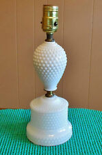 WHITE HOBNAIL GLASS VANITY TABLE LAMP
