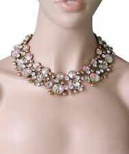 Statement Cleopatra Necklace,Clear & Aurora Borealis Crystals,Pageant,Drag Queen