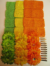 12 Lot DIY Flower Hair Clip Headband Kit - Birthday Party Craft Fair Church