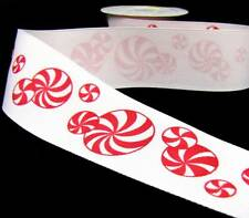 """1 Yd Christmas White Red Peppermint Candy Grosgrain Ribbon 1 1/2""""W"""