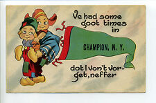 Champion NY (Jefferson Co) pennant greetings, Goot Times, 1917, dutch children