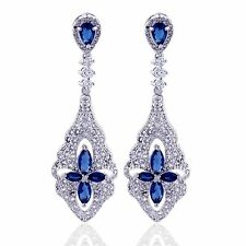 Woman blue sapphire crystal long bridal rhinestone chandelier dangle earrings