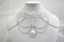 White Lace Choker Cosplay Wedding Vintage Pearl Pendant Chain Necklace Collar