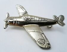 Airplane Brooch / Pin Silver tone