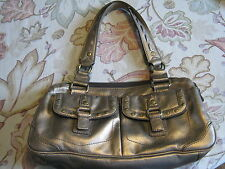 Genuine Fossil BAGUETTE Handbag Purse #75082 Silver Leather Magnetic Snaps