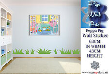 Peppa Pig wall art sticker 3DEffect Window Childrens Bedroom Kids Wall Decal BIG