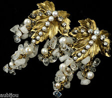 VTG IRADJ MOINI FLORAL WHITE QUARTZ GRAPE CLUSTER LEAF LONG DANGLE CLIP EARRINGS
