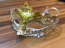 Masquerade Mask Venetian Filigree Gold/White Metal Diamonte Ball Prom Party