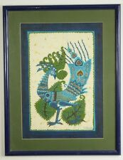 Vintage original cloth or linen painting Peacock dye Batik signed framed matted