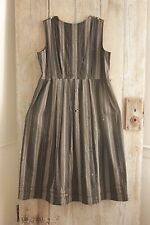 Antique chore wool woman's dress c 1900 black grey stripe TIMEWORN work wear