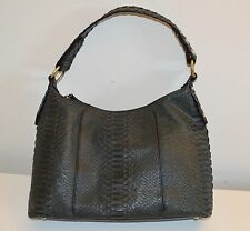 Via Spiga Bordo Embossed Python Snakeskin Leather Shoulder Bag