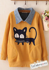 Asian Korean Womens Cute Cat Fish Mustard Yellow Collar Long Sleeve Pocket Top