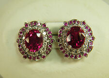 EARRINGS:  15+ CTS RED RUBY OVAL&ROUND WHITE SAPPHIRE 925 STERLING SILVER