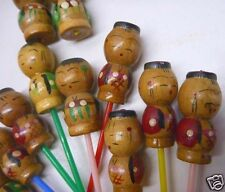 Set of 11 Vintage Wood Asian Hors d'oeuvres Appetizer Cocktail Party Picks Doll