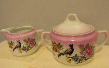 PK UNITY GERMANY BIRDS  FLOWERS LUSTER WARE CREAMER SUGAR BOWL
