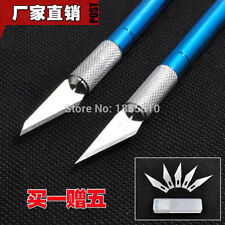 Metal Handle Scalpel Craft Knife Cutter Engraving Hobby Knives with 6 Pcs Blades