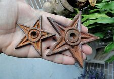 2 vintage CAST IRON 5 POINTED STARS Masonry Wall Anchor Plates