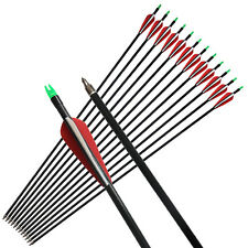 """12X 33"""" Fiberglass Arrows Fletching Vanes Archery Hunting For Compound Bow"""