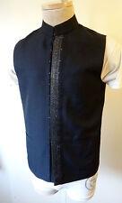 NEHRU matrix vest indian kurta medium fitted small black metallic steampunk