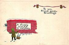 Weihnachten, Kind mit Farbeimer und Pinsel, amerik. Prägekarte, um 1915