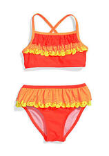 NWT $32 Girl Flapdoodles 2PC Orange Yellow Eyelet Ruffle Bikini Swimsuit  2T NEW