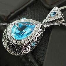 Acquamarina cristalli pendente collana gioielli regali di Natale per mamma fidanzata