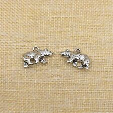 10Pcs Bear Charms Pendant Antique Silver Jewlery Making Findings 15*25MM C7668