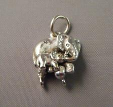 VTG Figural 3D Mother & Baby Elephant 16mm Sterling Silver Charm w/ Loops (4.7g)