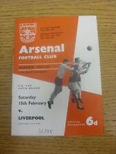 16/03/1962 Arsenal v Liverpool [FA Cup] (Attendance/Score Noted On Cover & Score