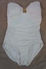 Carmen Marc Valvo One Piece Sz 8 Ivory Ruched Bandeau Summer Swimsuit C82608
