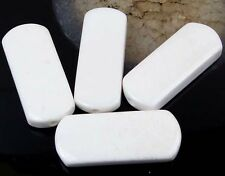 4 White Agate Tongue Pendant Focal Beads 40x16mm