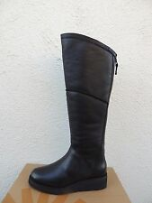 UGG KENDI BLACK LEATHER/ SHEEPSKIN KNEE HIGH WEDGE BOOTS, US 7/ EUR 38 ~NIB