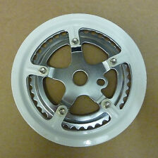 "ONE PIECE 3/32"" DOUBLE CHAINRING / CHAINWHEEL  40/48 TEETH WITH GUARD WHITE"