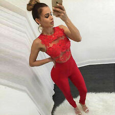 Sexy Ladies Lace Floral Jumpsuits Rompers Bodysuit Overalls Long Slim Trousers