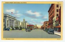 MINT - Fourth St., Santa Rosa, CA, Bank of America Sign, Old cars, c.1940-45
