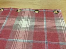 Next Versatile Check Stirling Red Tartan Lined Eyelet Curtains Hand Sewn