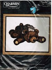"Charmin Vintage Crewel Kit Catnap Kitten Kitty Bear by Virginia Miller 14"" x 11"""