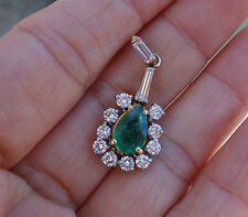 1.60 ct emerald 1.45ct Diamond vintage antique pendant 18k YG