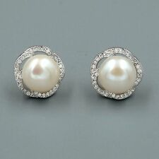 10 mm White Pearl CZ Sterling Silver Flower Stud Earrings Cultured Freshwater 93