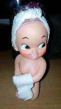 Vintage Rubber  Doll  with Towel  Made in Japan  Retro 70's Beige Towel