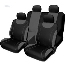 New Sleek Flat Cloth Black and Grey Front and Rear Seat Covers Set for Nissan