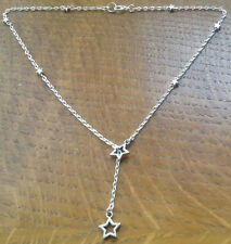 "Handmade Silver Star linked Lariat 17"" Necklace SP Textured Chain"