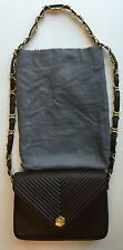 Vintage REVILLON Brown Leather Quilted Shoulder Bag Gold Chain France Dust Bag