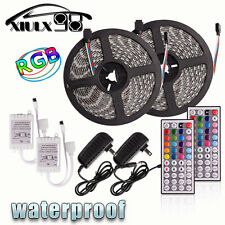 2x 5M SMD Remote RGB LED Strip light 5050 Waterproof 300 44 Key 12V Supply Power