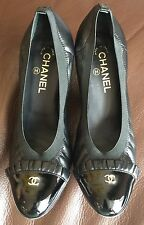 Authentic CC CHANEL ruffle classic quilted leather cap toe bow ballet flats 40