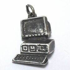 VINTAGE COMPUTER PC NETWORKING WEBSITE LOVELY STERLING SILVER 925 PENDANT CHARM