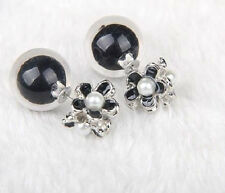 DOUBLE CLEAR BUBBLE BALL GLASS BLACK DAISY PEARL FLOWER STUD EAR PLUG  EARRINGS