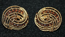CROWN TRIFARI SIGNED CLIP ON EARRINGS WITH AMBER OR TOPAZ STONES-EXCELLENT!!!